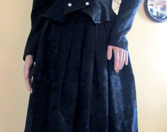 Black Victorian Style Suit.  Floral Satin Jacquard 2 Piece Skirt Set by S.G. Gilbert