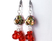 Red Glass Earrings - Fire Red Glass Beads, Czech Glass Pansy Beads, Antique Silver Earwires