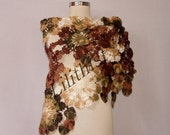 Crochet Shawl Wrap, Lace Shawl, Crochet Scarf, Brown Green Infinity Shawl, Triangle Flower Shawl, Fall Colors, Gift For Women Accessories