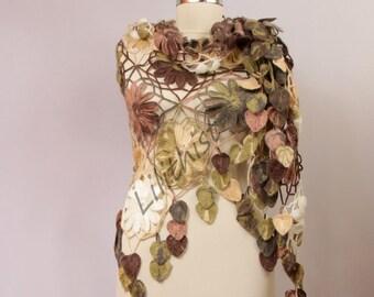 Crochet Shawl Wrap, Flower Shawl, Lace Shawl, Crochet Cover Up, Fall Leaf Shawl, Oversized Shawl, Wedding Shawl, Triangle Shawl Women  Scarf