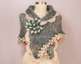 Green Teal Crochet Shawl, Shawlette, Wedding Shawl, Bridesmaid Bridal Shawl, Ivory Shawl, Bridal Shrug Bolero, Wedding Cover Up, Bride Gift