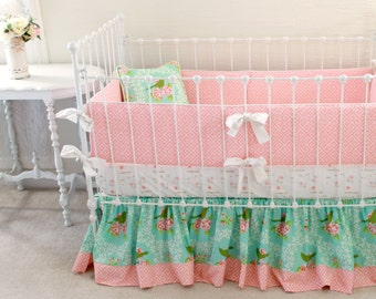 Vintage-Inspired Turquoise Mockingbird Baby Bedding Set, Baby Girl Crib Bedding in Turquoise, Pink, and White - LIMITED QUANTITIES!