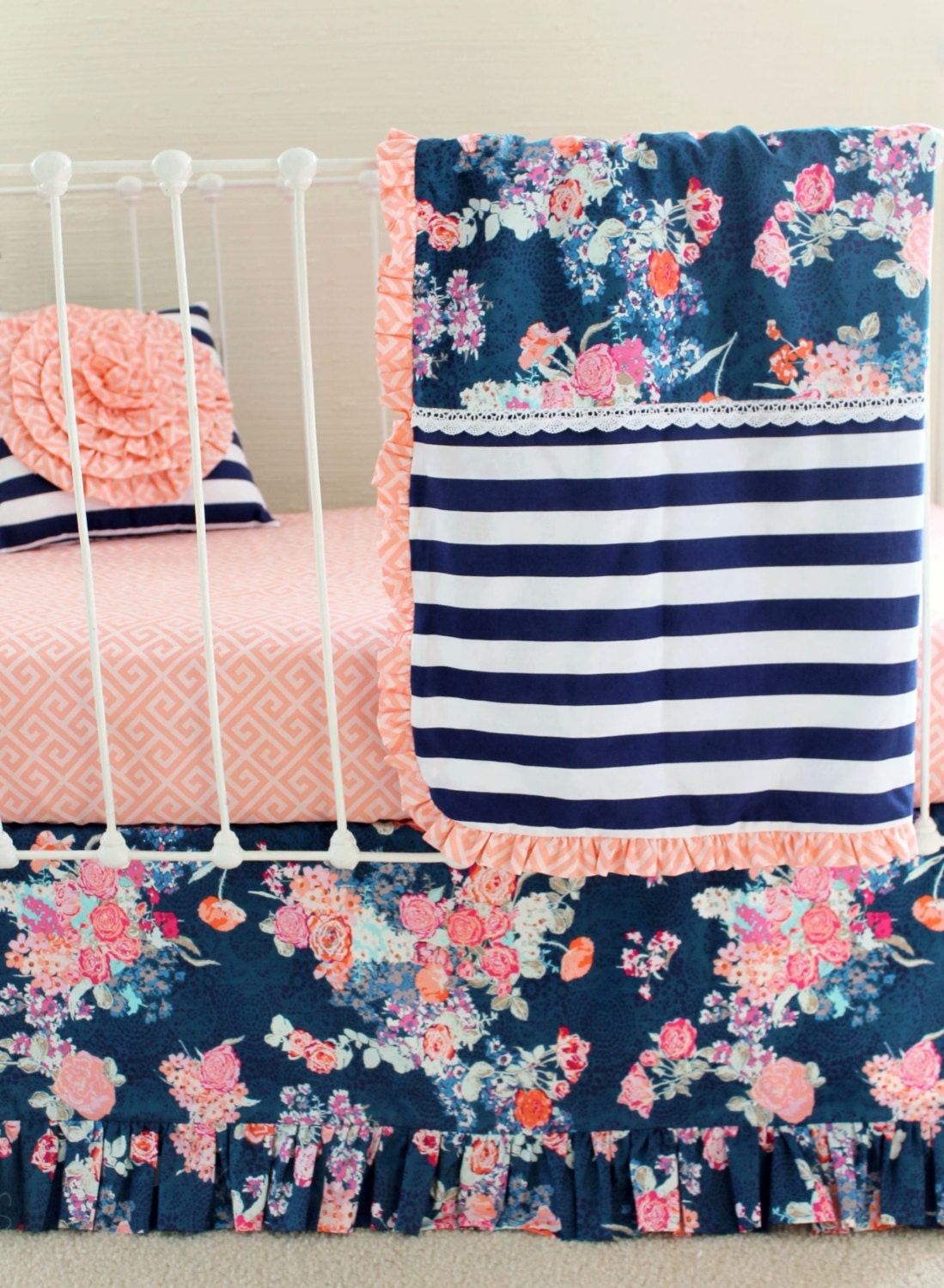 Coral And Navy Baby Girl Bedding Stripe And Floral By