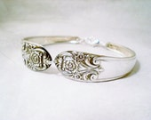 Vintage Jewelry, FREE ENGRAVING Silverware Spoon Bracelet, Vintage Silverware Jewelry, Vintage Wedding, Bridesmaid Jewelry MELODY 1954