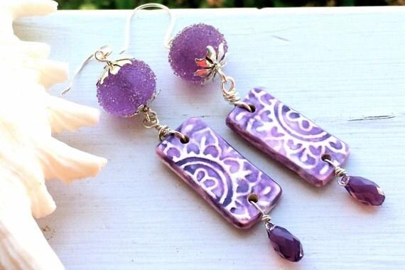 Sugared Lavender Earrings