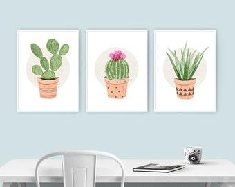 Kitchen Art - Prickly Pear, Ball Cactus, Aloe Vera Plant - Set of 3 Cactus Plant Illustrations