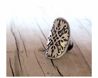 Victorian Lace cut out Eco Friendly Silver Knuckle Spoon Ring Upcycled eco art Sterling Lace Victorian inspired statement sterling ooak ring