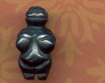 Venus of Willendorf Carved Hematite Stone Goddess BEAD. Primitive, Pagan, Paleolothic. GB-HM
