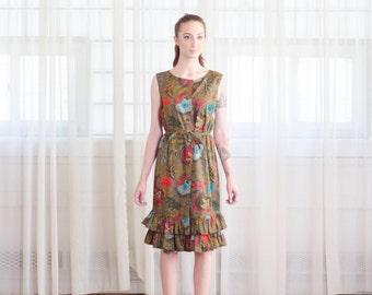 60s Batik Dress - Vintage 1960s Summer Dress - Sunset City Dress
