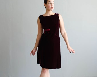 Velvet 60s Dress - Vintage 1960s Dress - Punch Bowl Velvet Dress