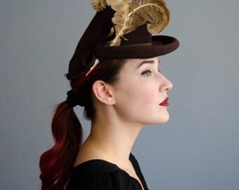 Vintage 1940s Tilt Hat - 40s Mini Fedora - Creeque Tilt Hat
