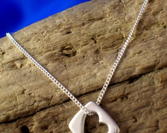 Silver Heart Pendant, Handmade, Sterling Silver, Heart Jewellery, Heart Necklace, 925 Silver.