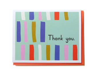 Thank You Card, Thank You Card Set, Thank You Notes, Thank You Friend Card - Mod Thank You Stripes