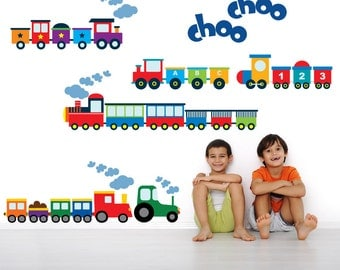 Trains Wall Sticker Decals REUSABLE Fabric Wall Decals for Kids, Boys Decal, A212