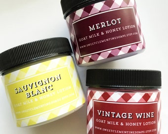 Body Lotion, Wine Country Goat's Milk and Honey Hand and Body Lotion Collection, Sauvignon Blanc Merlot Vintage Wine Lotion Sampler