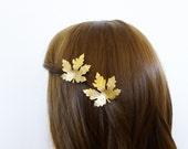Wedding Hair Clips Gold Maple Leaf Barrettes Bridal Bride Bridesmaid Botanical Nature Inspired Autumn Fall Rustic Woodland Hair Accessories