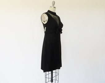 Vintage 1960s Dress / 60s Dress / MOD Dress Mini Dress / Black Dress / XS S Deadstock