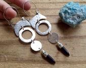 Tribal stone spike hoop earrings, metal and stone tribal earrings