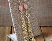 Pink Glass Clover Chain Tassel Gold Drop Dangle Earrings/ Gold Triple Oval Pink Connector/ Bright Round Glass Bead Chandelier (EGC25)