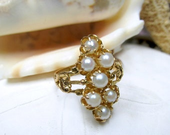 21k Solid Yellow Gold Vintage Pearl Ring High Karat Gold 3.42grams Size 5