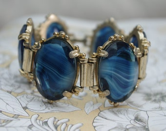 Vintage - Large chunky - two-tone blue glass - bracelet - 1960s