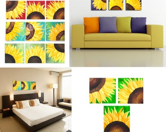 Custom Art,  3 Bold Sunflowers, You pick a background color, Set of 3 12x12 Floral Paintings, Home and Office Wall Art
