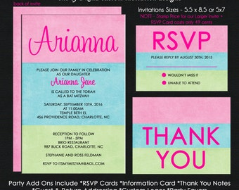 Cotton Candy Theme Bat Mitzvah Invitation - Reply Card - Reception Card - Information Card - Thank You Note Use for ANY EVENT