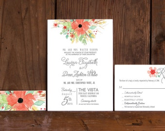 Boho Spring Floral Poster Wedding Invitation,Rustic Boho Floral Wedding Invitations,Floral Wedding Invitations,Boho Poppy flower invitations