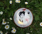 Antique petit four plate with lady Jeanne #1666