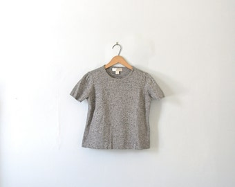 Vintage 90s grey cropped top shirt, gray crop top, ribbed knit shirt, size medium