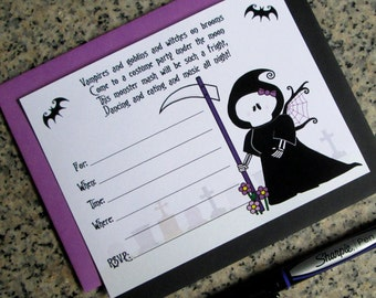 cute grim reaper girl lined halloween birthday costume party customizable lined invitations with envelopes DIY - set of 10