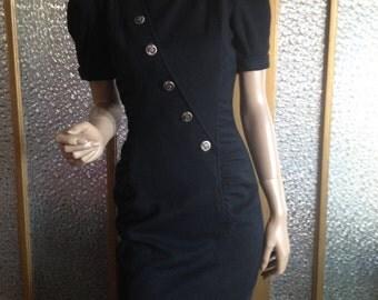 Black Knit 80s Dress