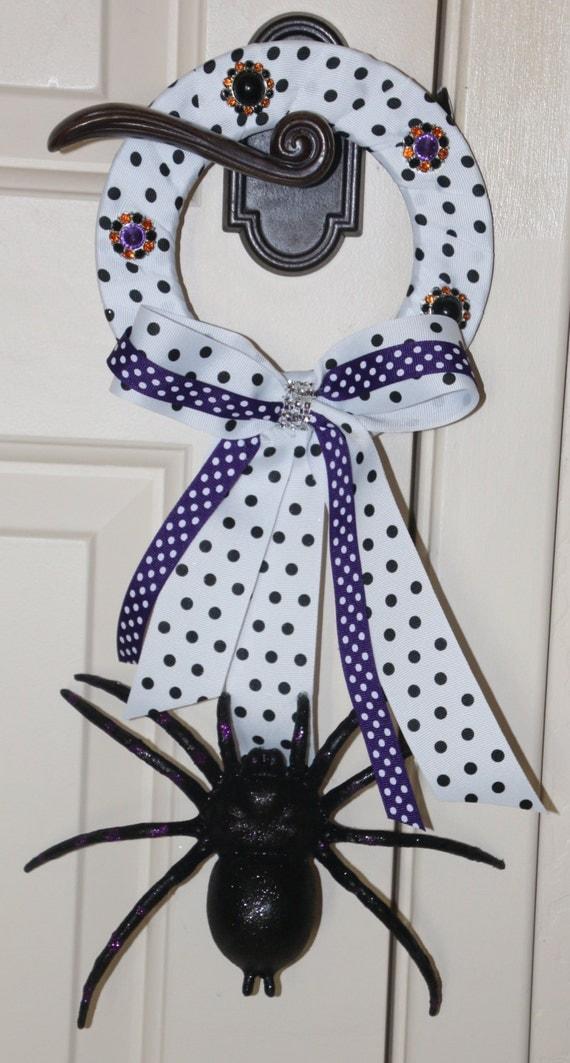 Halloween Spider Polka Dot Bling Door Hanger Or Wall Decor