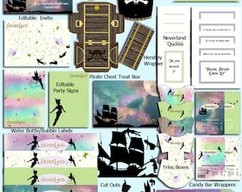 NeverLand Party Set - DIY - Digital File - Printable - Editable - INSTANT DOWNLOAD