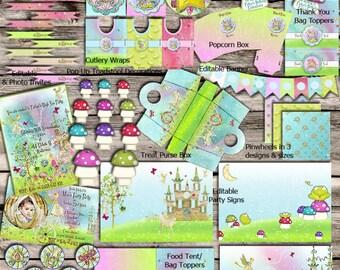 Unicorns & Fairies High Tea Party Set - DIY - Digital File - Printable - Customised - INSTANT DOWNLOAD