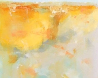 Colorful Abstract Seascape Original Painting -Sunlight Bay 18 x 36