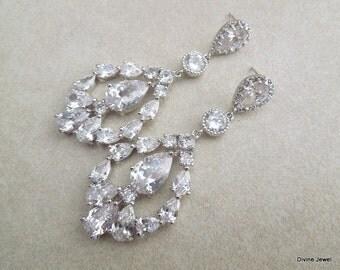 Crystal Wedding Earrings, Crystal Bridal Earrings, Vintage style, Statement Bridal earrings, Wedding jewelry, Wedding Crystal Earrings, TINA