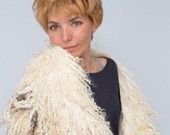 Felted Fur Сape  Shawl Warmer Collar Felted scarf OOAK