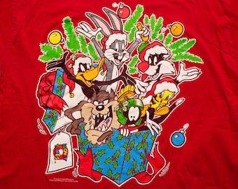 Looney Tunes Christmas T-Shirt, Bugs Taz Daffy Tweety Marvin, Vintage 90s