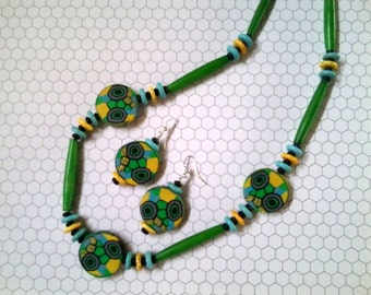 Green, Turquoise and Yellow Ethnic Inspired Necklace and Earrings (2279)