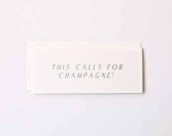Champagne - Letterpress Printed Greeting Card