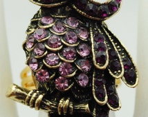 Cute Owl Ring/Pink/Purple/Gold/Rhinestone/Statement Ring/Gift For Her/Fall Jewelry/Under 15 USD/Adjustable