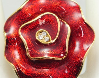 Red Flower Ring/Statement Ring/Gold/Gift For Her/Mother's Day/Spring Jewelry/Adjustable/Under 15 USD