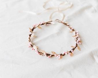 pink & gold berry leaf hair wreath // bridal wedding flower crown headband rustic forest garden spring woodland headpiece