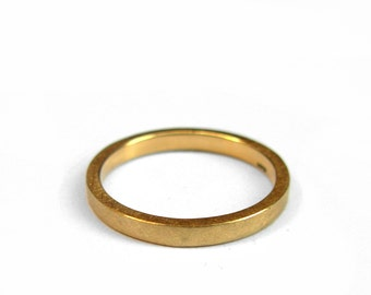 18K Gold Ring - 2mm yellow gold wedding band, made to order in your size - Slim Stacking Ring