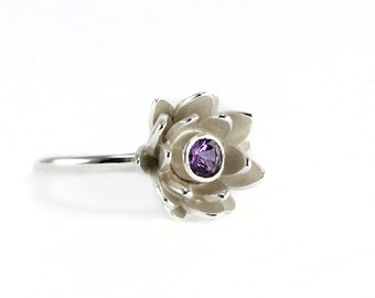 Lotus Flower Ring - Natural Purple Amethyst Gemstone, Sterling Silver 14k Yellow Gold Palladium White Gold - Unique Engagement, Promise Ring