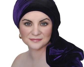Purple Velvet Turban, Head Wrap, Chemo Hat, Alopecia Scarf, Hijab, One Piece Wrap 332-05