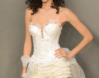 Fancy Ivory bustier, Wedding Lingerie, Steampunk, Renaissance, Pirate, Faery, Corset With Lace , Pearl, And Sequin Applique',