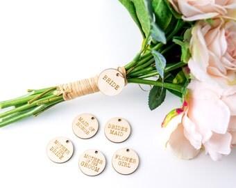 "Bridal Bouquet ""Bride"" Charm Tag - Rustic Wooden Bride Charm for Wedding Bouquets for Bridal Party (Item - TSB200)"