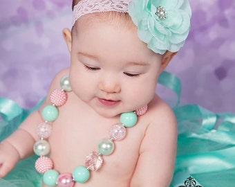 Mint and Pink Baby Necklace, Baby Jewelry, Toddler Necklace, Bead Necklace, First Birthday Necklace, Chunky Necklace, Bubblegum Necklace